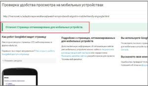 сайт прошел проверку удобства просмотра на мобильных