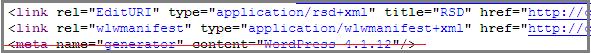 информация о версии wordpress